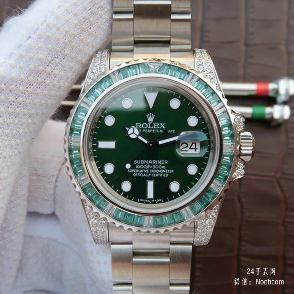 顶级精仿劳力士绿水鬼116610LV镶钻欧美版男士机械表价格及图片