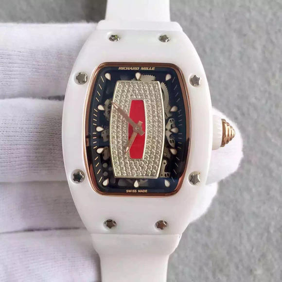 RM理查德米勒RM 07-01 LADIES进口自动机械,45.66 x 31.40毫米,女士手表,材质:ZTA陶瓷振频:28800每小时振荡次数,硅胶表带,透底