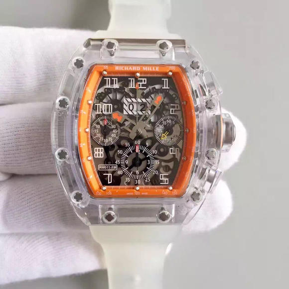 RM。Richard Mille 理查德米勒RM011路斯特玻璃版。将薄层复合技术 有机玻璃表壳,不是塑料也不是亚克力!男士手表,自动机械机芯,硅胶表带,透底