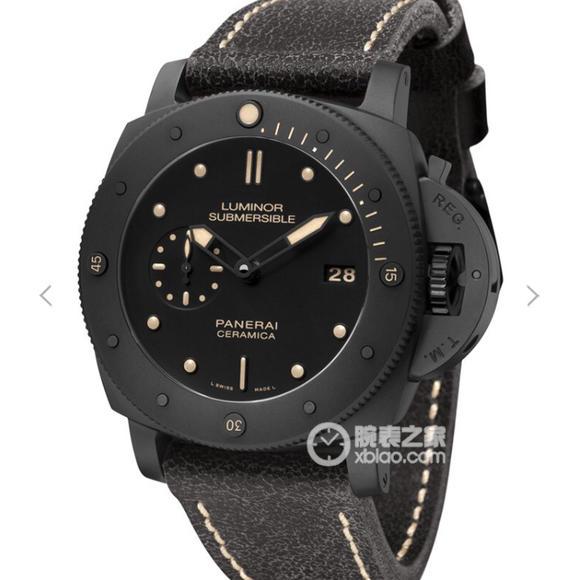 VS沛纳海限量珍藏款系列V2版PAM00508专业潜水自动陶瓷腕表外观色调如深海一般漆黑,男士腕表