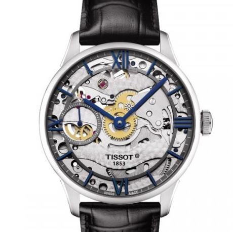 天梭杜鲁尔系列T099.405.16.418.00男士全缕空手动机械腕表,一比一复刻,316L 瑞士进口6497-1机芯