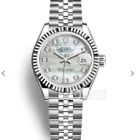 N劳力士女装日志型28㎜日志型。采用316L不锈钢来锻造不锈钢腕表表壳,自动机械女表