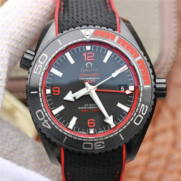 """VS欧米茄全黑陶瓷海洋宇宙600米 """"深海之黑"""" 男士腕表,橡胶表带,自动机械机芯,"""