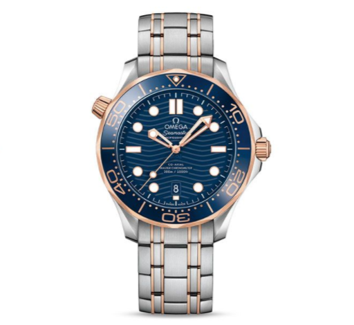 VS新海马300M间玫金蓝面 12点位外圈口带有贵金属印记 精钢表带 自动机械机芯 男士腕表