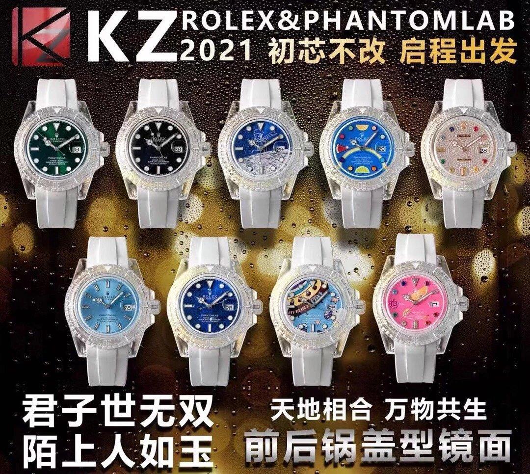 KZ厂劳力士透明水鬼3135机芯亚克力表壳进口泰国橡胶表带男士腕表